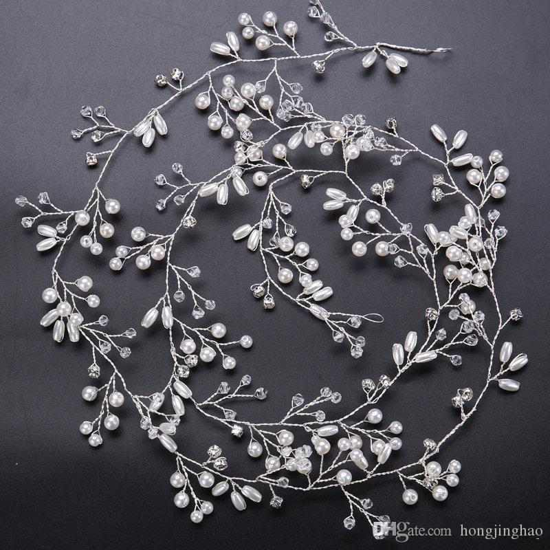 2019 Bridal Bridesmaid Gold and Silver Handmade Rhinestone Pearl Hairband Headband Luxury Hair Accessories Headpiece Fascinators Tiara Gold