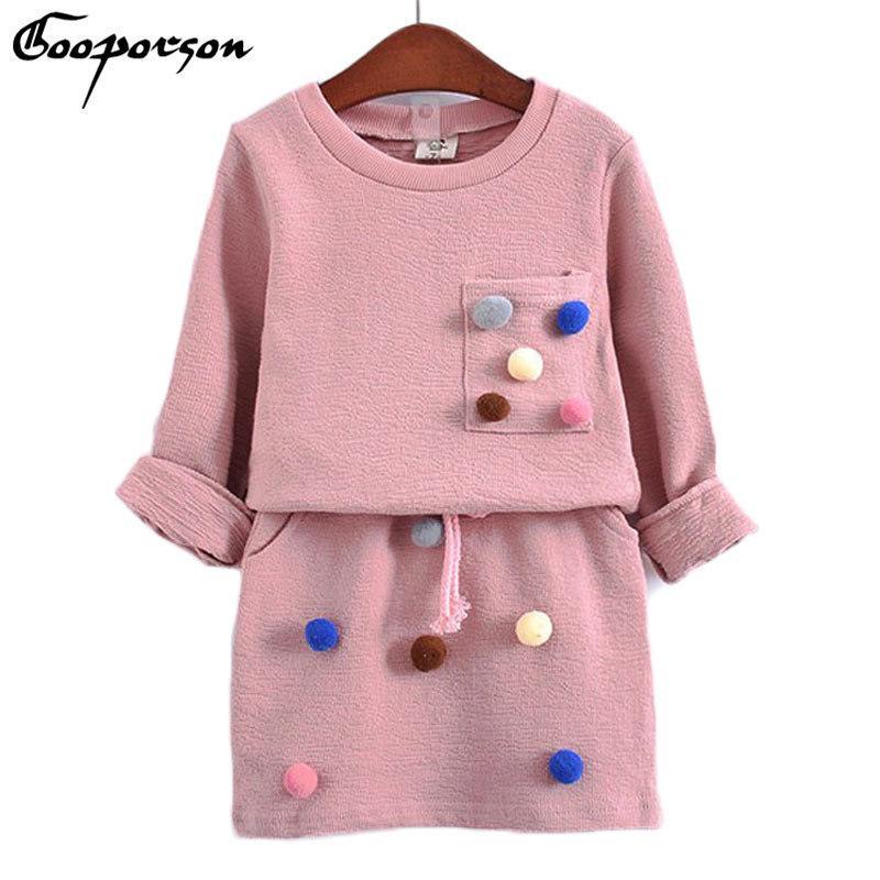 Ropa de invierno para niñas Conjunto Camisa de manga larga con pelota con falda lápiz Color rosa y azul Ropa de moda Conjunto Niños Niños J190425