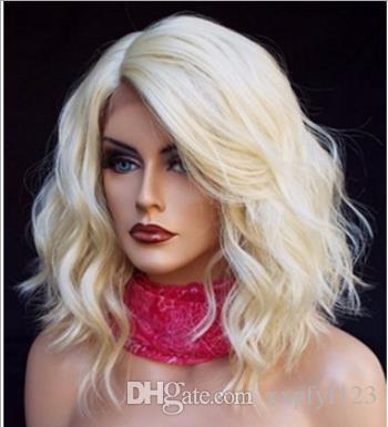 حار شقراء قصيرة مجعد الشعر المستعار الاصطناعية لأسود النساء 613 # الدانتيل الجبهة الباروكات بوب لمة 12 بوصة فضفاض موجة الجانب جزء FZP205