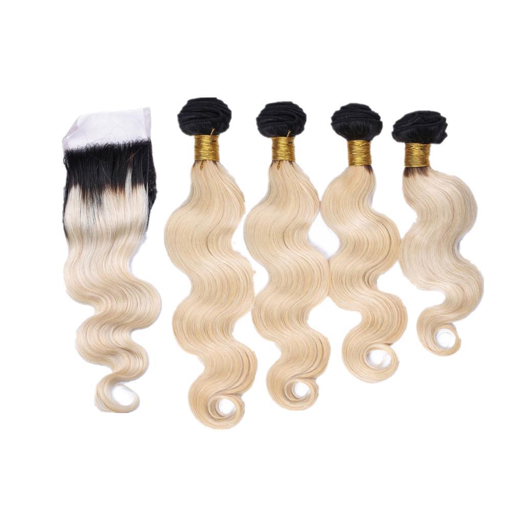 블렌치 금발 색상 바디 물결 모양의 머리카락 3Bundles 레이스 클로저 버진 바디 웨이브 헤어 익스텐션 Ombre 컬러 1b 613 상단 폐쇄 4x4