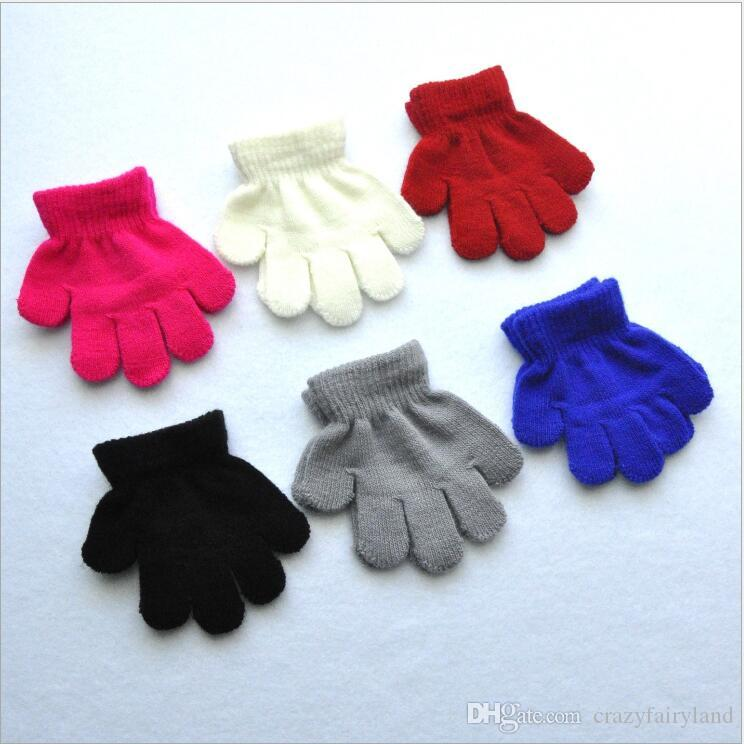 Kids Gloves Winter Warm Thicken Girls Boys Children Cute Full Finger Mittens Solid Color 6 Colors Glove For 1-3Y
