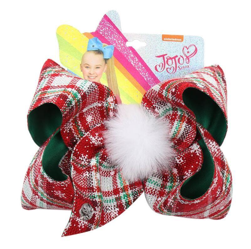 8 pulgadas Siwa jojo inclina niños pelo clips trabajo hecho a mano jojo Siwa arcos del pelo de los barrettes niñas lindo bebé arco horquilla de Navidad