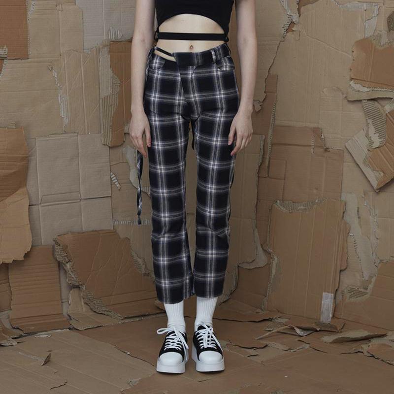 Kore Moda İlkbahar Yaz Yeni Kadınlar Vintage Ekose Pantolon Pamuk Dantel Yukarı İnce Kadın Ayak bileği uzunlukta Pantolon Pantolon Capris