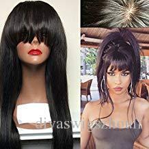 360 perruques frontales en dentelle avec bang branchement diva brésilien 360 dentelle perruque droite perruque de cheveux humains sans gluence pour femmes noires (16 pouces, 180%