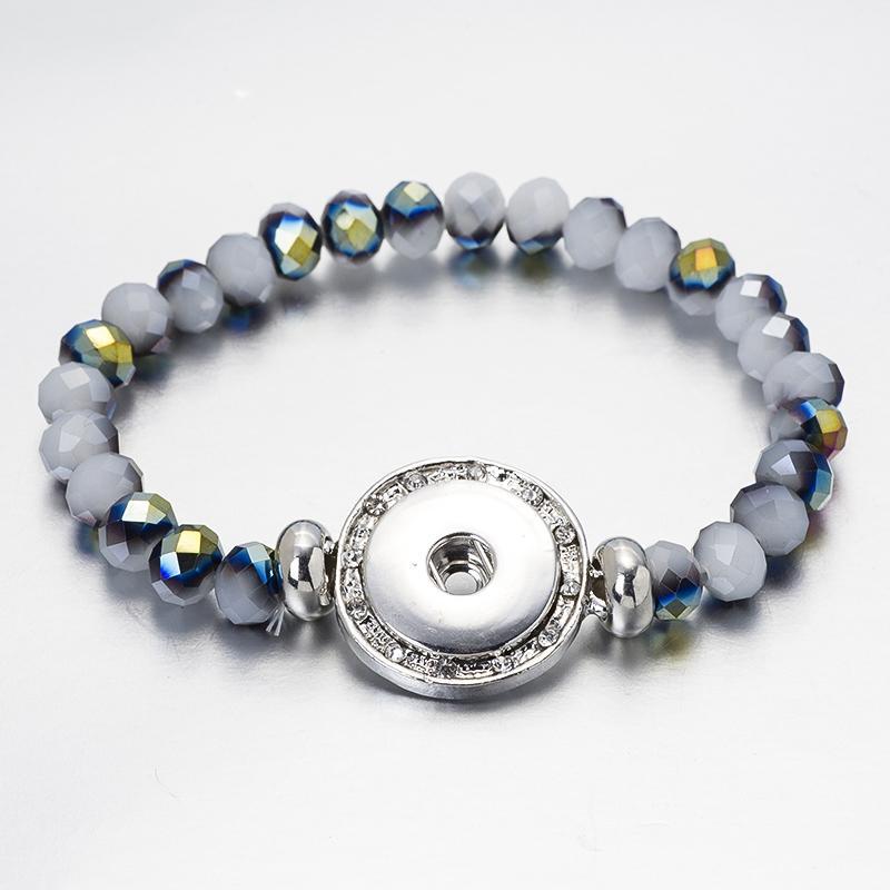 Nouveau bracelet à bijoux de mode 18mm bouton Snap bijoux bracelets de pierre verte bracelet pour Femmes cristal Main Fabriqué BS01