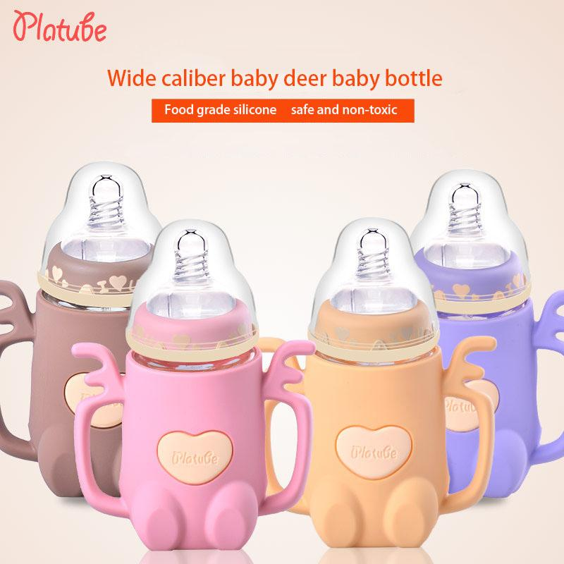 240ml bebê garrafa alimentação garrafas de leite de vidro largo bezerro com Handle Caliber Padrão mama mamadeira mamadeira do bebê Água