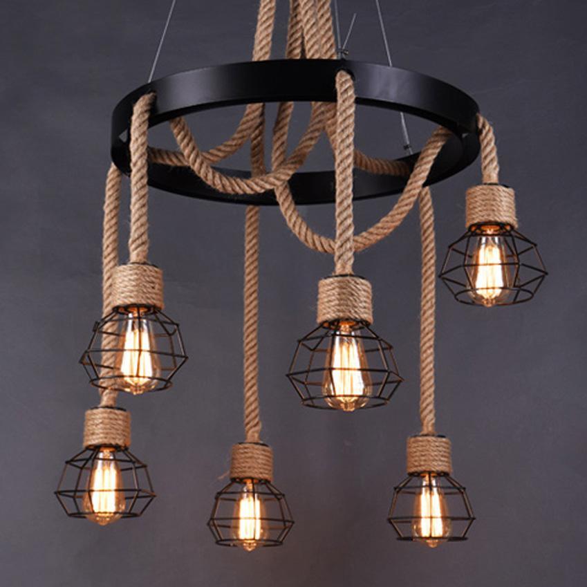Lámpara de la vendimia cuerda de cáñamo Negro de hierro forjado 6 cabeza restaurante Loft lámpara de jaula de hierro que cuelga estilo industrial cafe bar iluminación