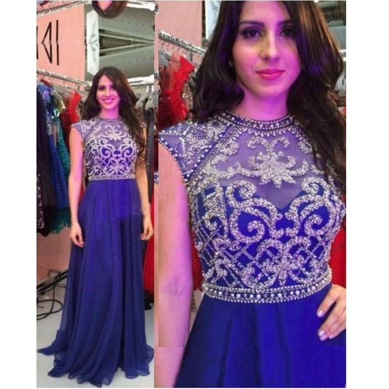 Luxury Royal Blue Chiffon A-line Evening Dresses Backless Embroidery Beaded Long Formal Evening Party Prom Dress 2020 Robe De Soiree