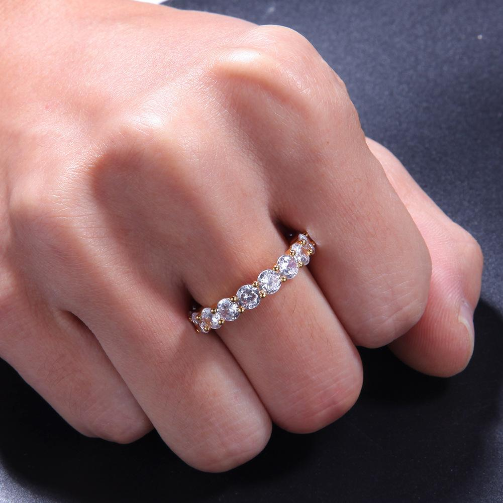 Hip Hop Bling Mens da donna anelli gioielli in oro argento single riga singola zircone diamante con anelli ghiacciati