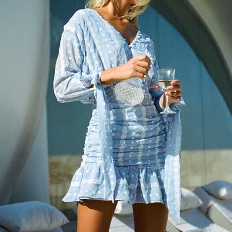 2020 Blue Women Dressses Long sleeve Embroidery Flower Dress Sexy Open Buttons V neck Ruched Hem Ruffles Slim Mini Short Party Dresses Blue