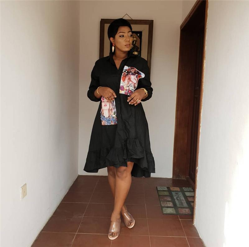 Женская дизайнерская рубашка платье с мастером для ногтей нерегулярное складное платье DONNA HO LO Платья