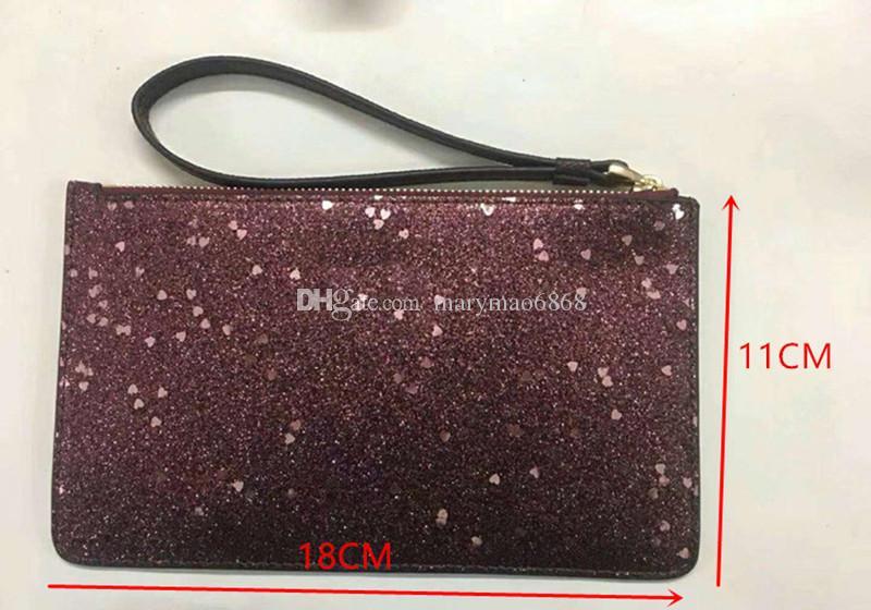 NUEVO brillo brillo chispa monederos diseñador Mujeres Carteras Wristlet estrellas diseñador de la marca bolsos de embrague cremallera diseño de la pu bolso de lujo fábrica