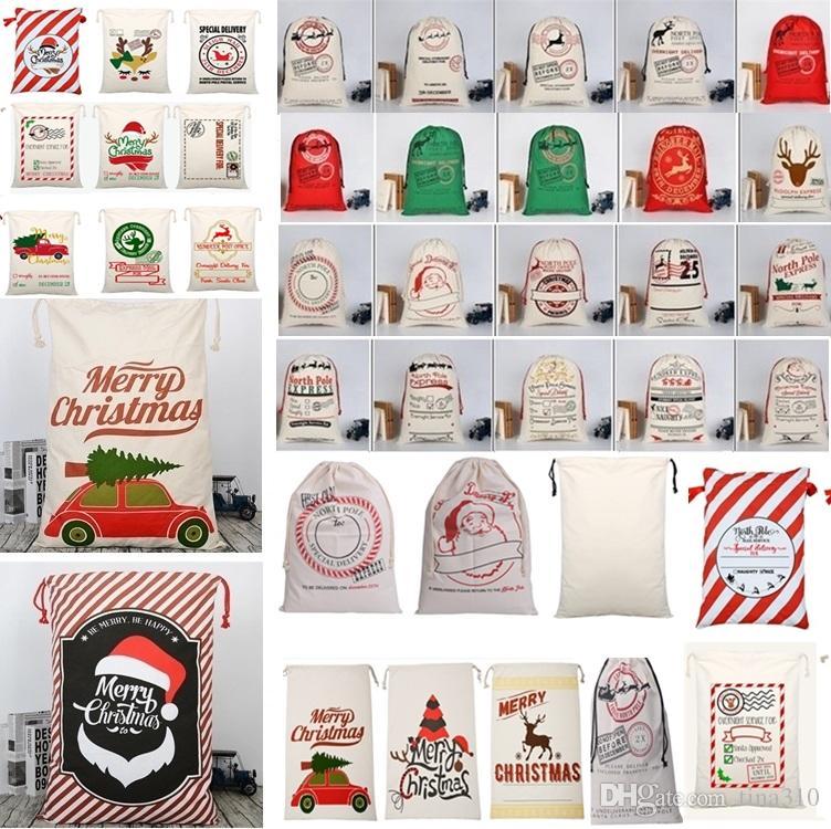 공장 크리스마스 가방 대형 캔버스 단일 산타 클로스 Drawstring 가방과 reindeers 크리스마스 선물 자루 가방 크리스마스 장식