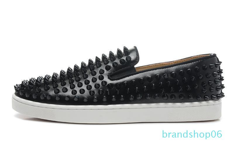 Top Quality Luxury Designer Brand Red Bottoms Men Women Studded Spikes Flats Shoes Wedding Party Lovers Genuine Leather Casual Sneakers 66xz
