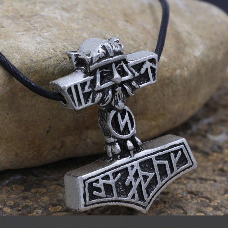 Wholesale Thor Hammer Nodic Vikings Runes Wolf Head Pendant
