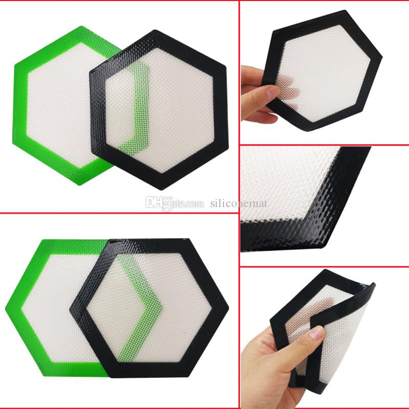 "Quality FDA food grade reusable non stick concentrate bho wax slick oil Hexagon shape heat resistant fibreglass 5"" silicone mat"