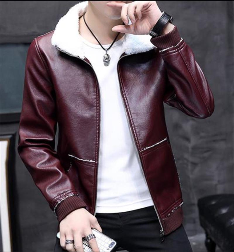 Delgada del collar del soporte de la PU para hombre de cuero abrigos de piel gruesas chaquetas de otoño de manga larga para hombre de vestir exteriores para hombre de la moda de imitación