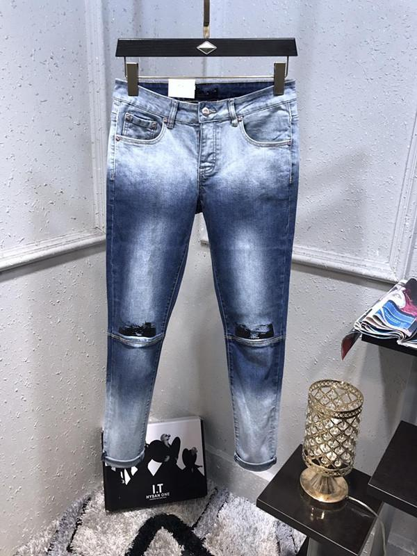 2020ss French Solid Classic Style Jeans Slim Fit Motorcycle Biker Denim Men's Fashion Designer European version Jeans Quality Size 29-40