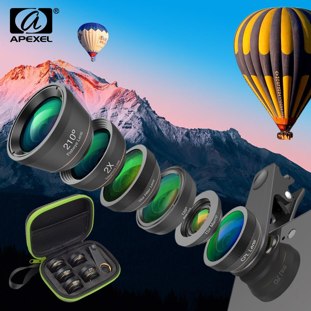 wholesale Wholesale 10 Pcs/Pack 6in1 Fish Eye Lens +Wide Angle+Macro+CPL+Star+Filter+ Telescope Phone Camera Lens with Package DG6