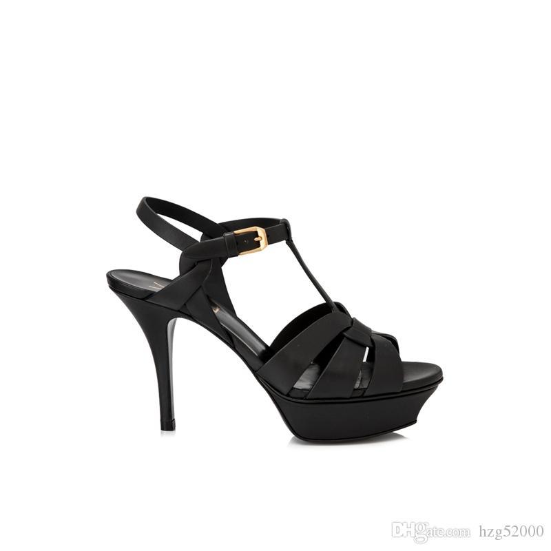 Progettazione tributo ha Sandali argento Nude Rosa Gold Leaf cinturini Tacchi alti gladiatore sandali delle donne pompa i pattini della cinghia della caviglia della piattaforma nera
