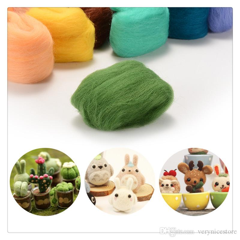 Craft Tools Felting Wool Set of 36 Colors Wool Roving Fibre Wool Roving for Needle Felting Hand Spinning DIY Craft Materials