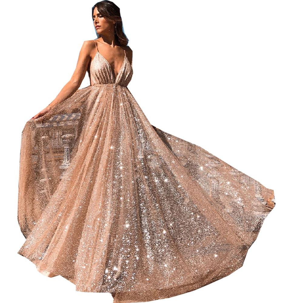 Prom Dresses Women Sparkling Party Gowns Graduacation A Line Spaghetti Straps V Neck Backless Sequin Gold Long Evening Dinner Dress 7851