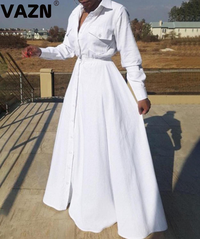 VAZN AWE5021 Automne Taille Plus haut de gamme Daily Untidy frais Effacer la pleine femme manches en mousseline de soie à taille haute Braid robe de bal Robe longue
