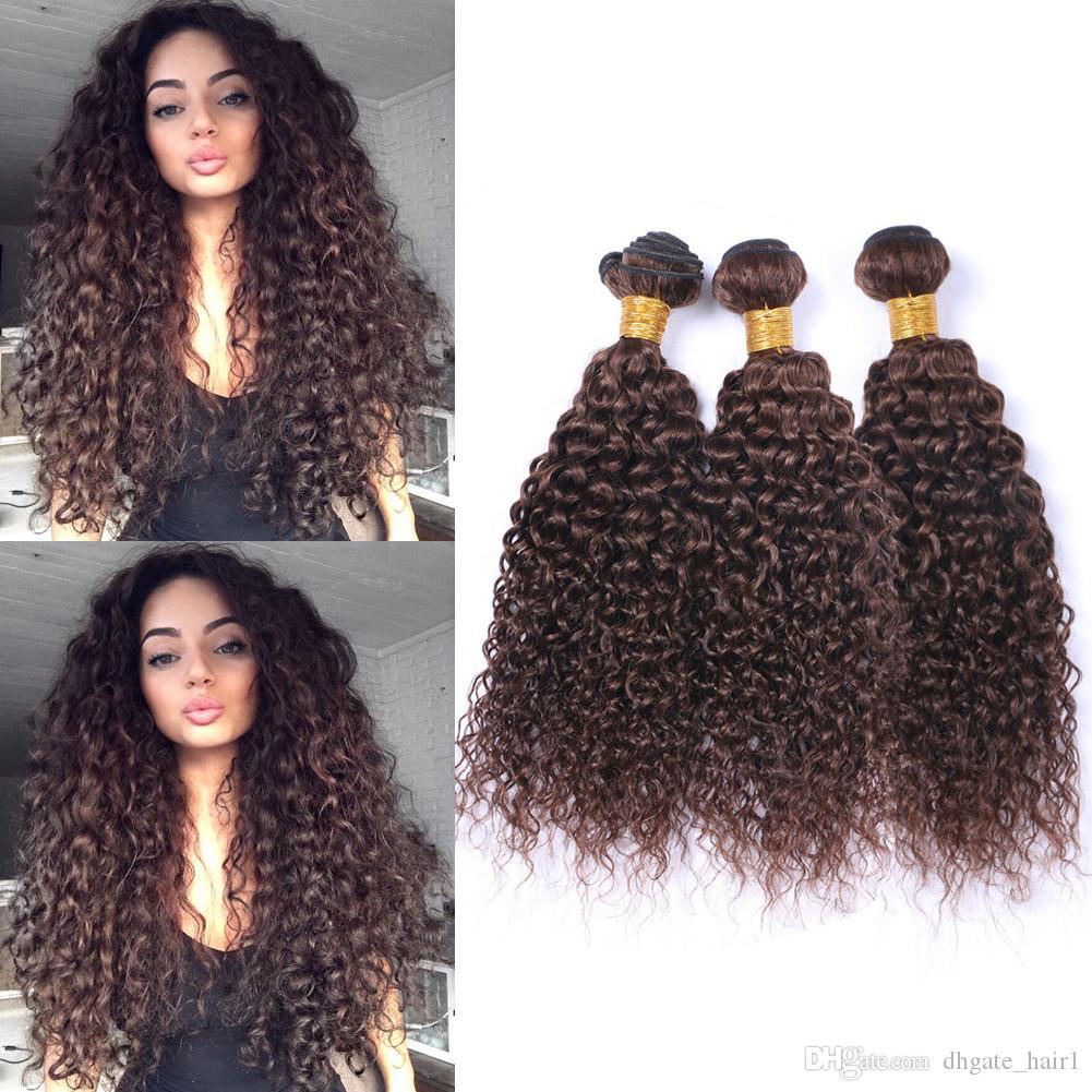 # 4 Темно-коричневые кудрявые кудрявые бразильские человеческие волосы переплетаются 3 пучка Шоколадно-коричневые девственные волосы утка наращивания Кудрявые вьющиеся пучки предложения