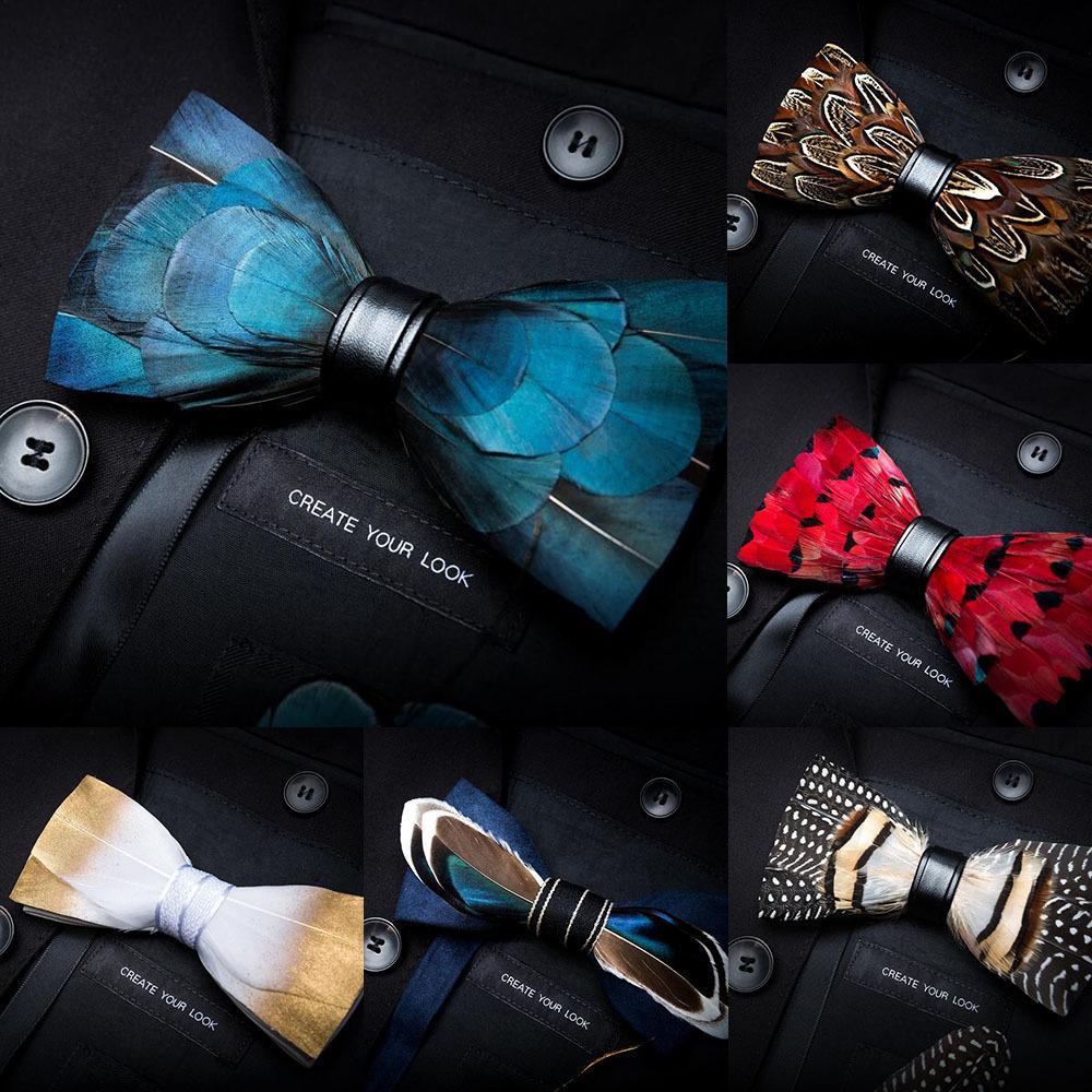 Moda de Nova Mens Handmade Pena e Couro Bow Tie Pré-amarrado Bowtie Wedding Party Para Caixa De Presente Com