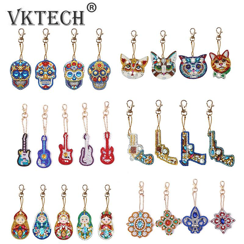 4//5pc DIY Full Drill Special Shaped Diamond Painting Keychains Pendant Art Decor