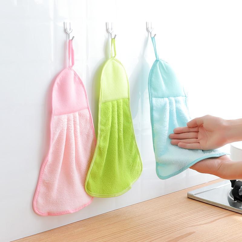 Baby Hand Towel Toddler Soft Plush Absorbent Drying Wash Cloth Towel Wipe Hanging Bathing For Children Kitchen Bathroom