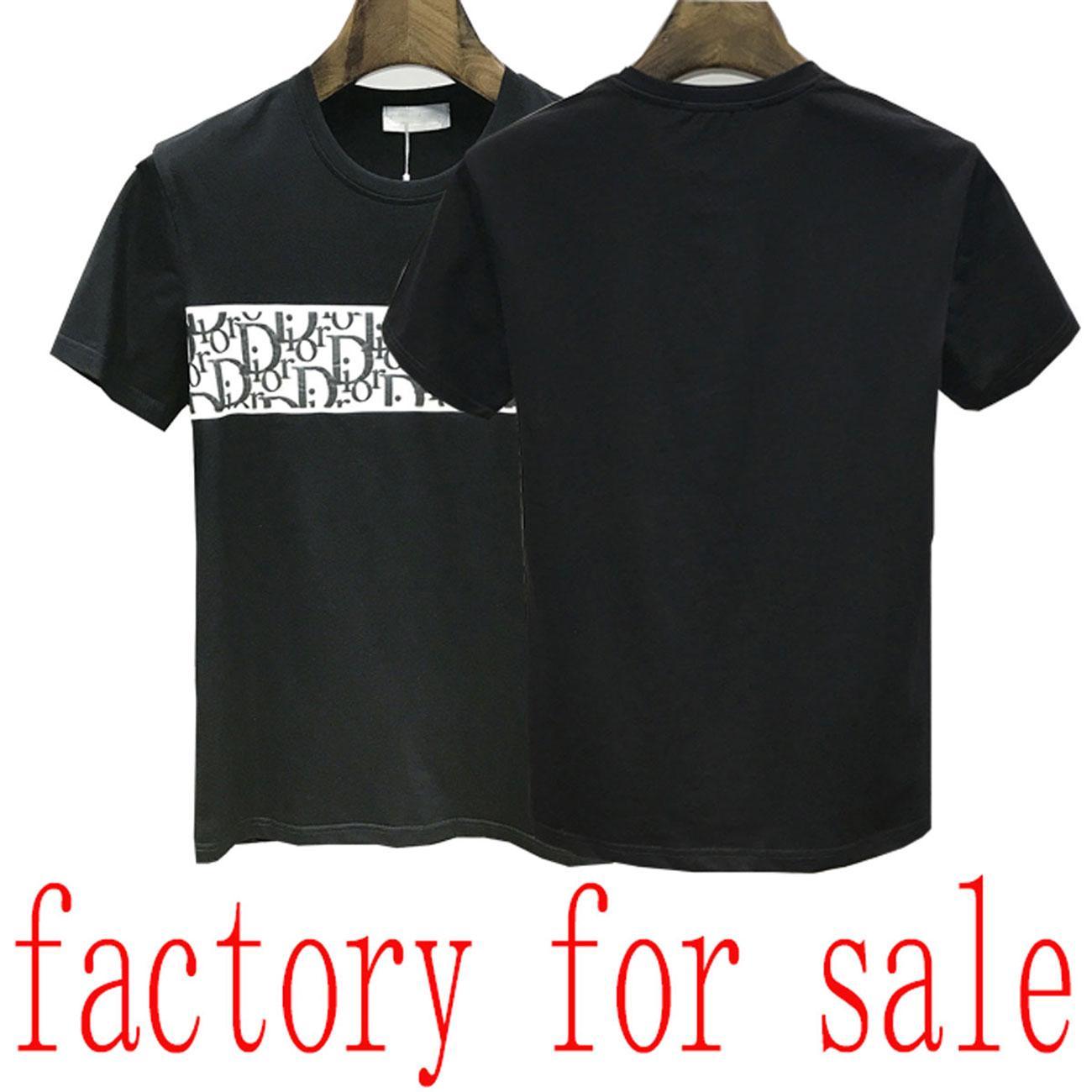 20SS marca de los hombres de la camiseta de las Bermudas Europea hip-hop impresa de manga corta de la camiseta del verano del nuevo cuello redondo de algodón blanco y negro camisa de los hombres