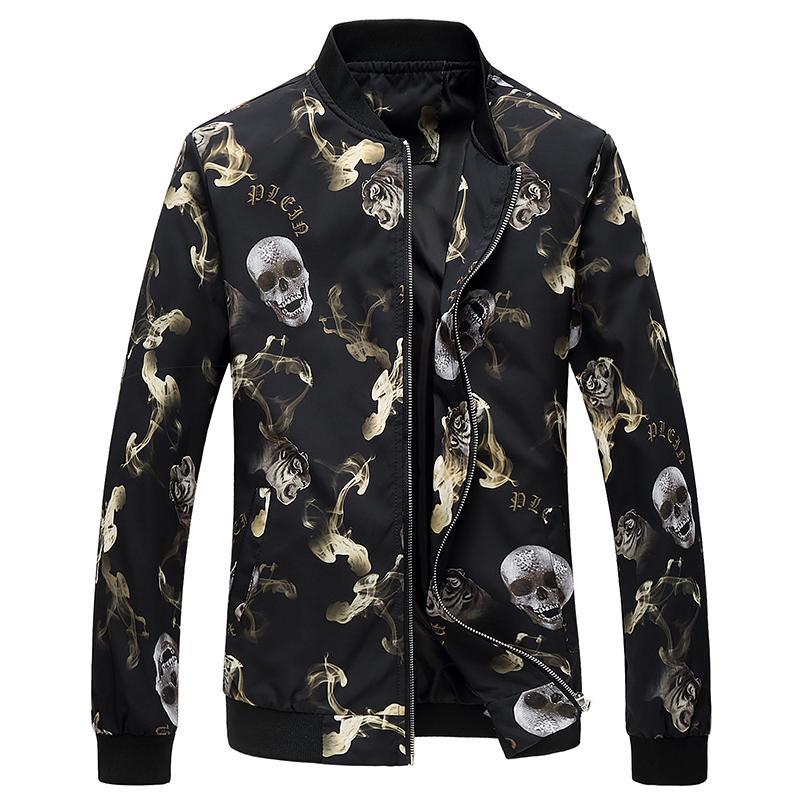 2020 Giacca print size Uomo Primavera Autunno 6XL casual collare Outwear Mens Baseball Moda Maschile Giacca Solido Streetwear Cappotti