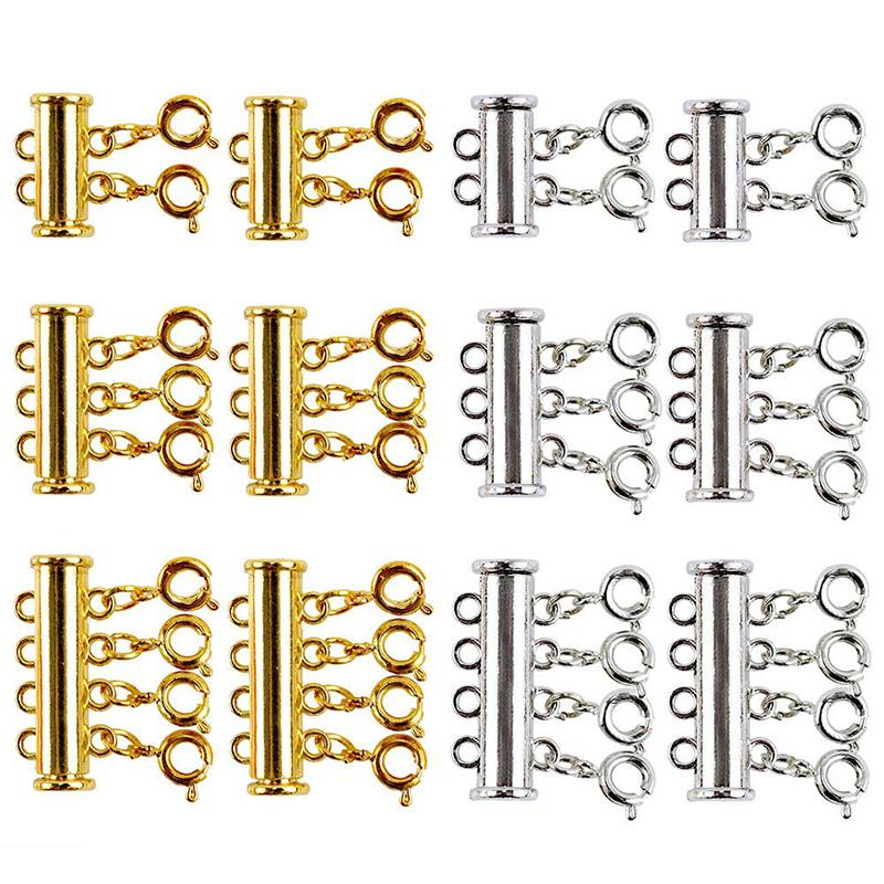 12 Pieces There Size Necklaces Slide Magnetic Tube Lock Clasps Gold and Silver Plated Clasps Connectors for Layered Bracelet Jew