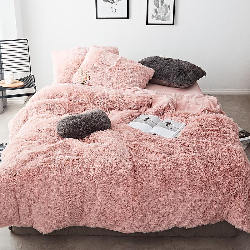 FB1901001 Pink White Fleece Fabric Winter Thick Pure Color Bedding Set Mink Velvet Duvet Cover King Bed sheet Bed Linen Pillowcases