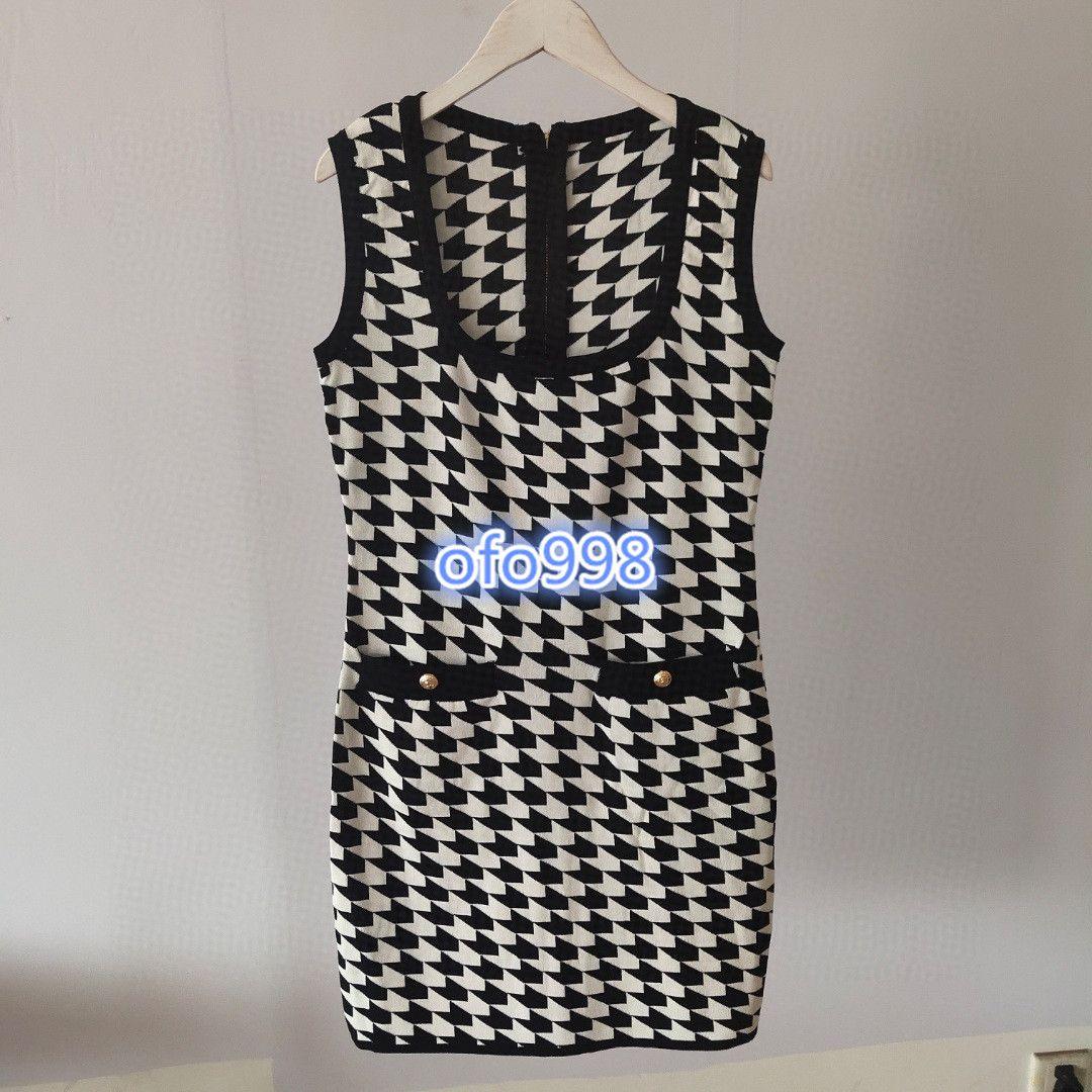 high end women girls knit vest dress Houndstooth crew neck sleeveless stretch midi bodycon skirt 2020 fashion design dresses