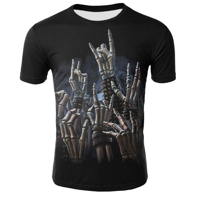 dressing2020 Hip Hop Männer-T-Shirt Grim Reaper Finger kurze Hülsen-beiläufige O Ansatz-Sommer-Tops Kühle Schädel-Druck-T-Shirt für Männer
