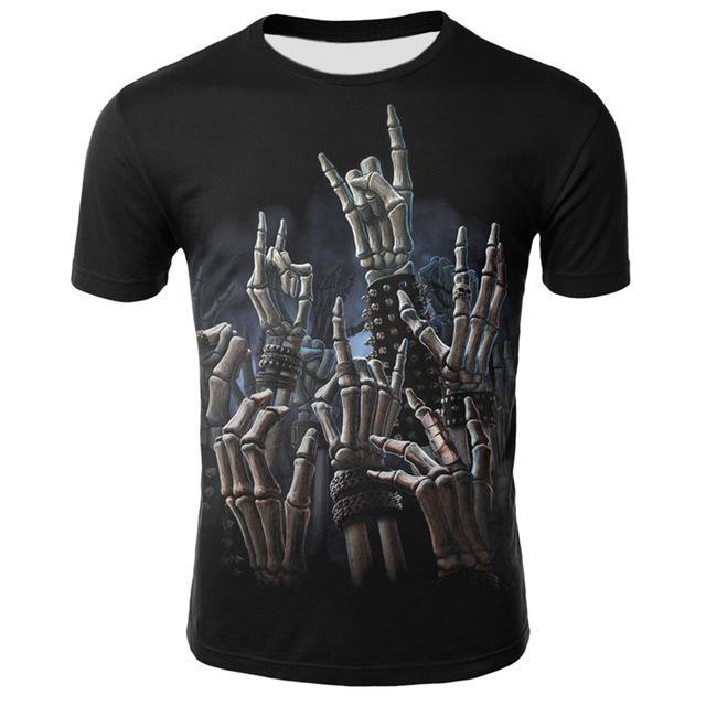 dressing2020 Hip Hop Maschile maglietta Grim Reaper Finger manica corta casuale O Collo Estate Cool Top Skull Stampa maglietta per gli uomini