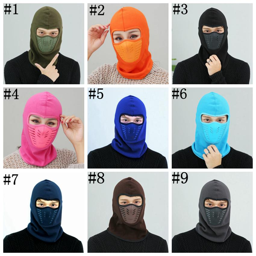 Bike Cycling Winter Warm Neck Face Mask Unisex Outdoor mask Sport Thermal Flannel Hat Ski Hood Helmet Caps 9 Color ZZA551