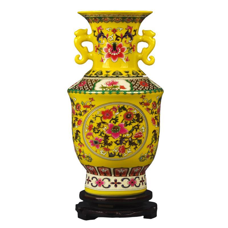 Orelhas Jingdezhen Classical esmalte Vaso com o dobro Vaso de flor Porcelain Modern Vintage cerâmica Decoração de Natal Flor