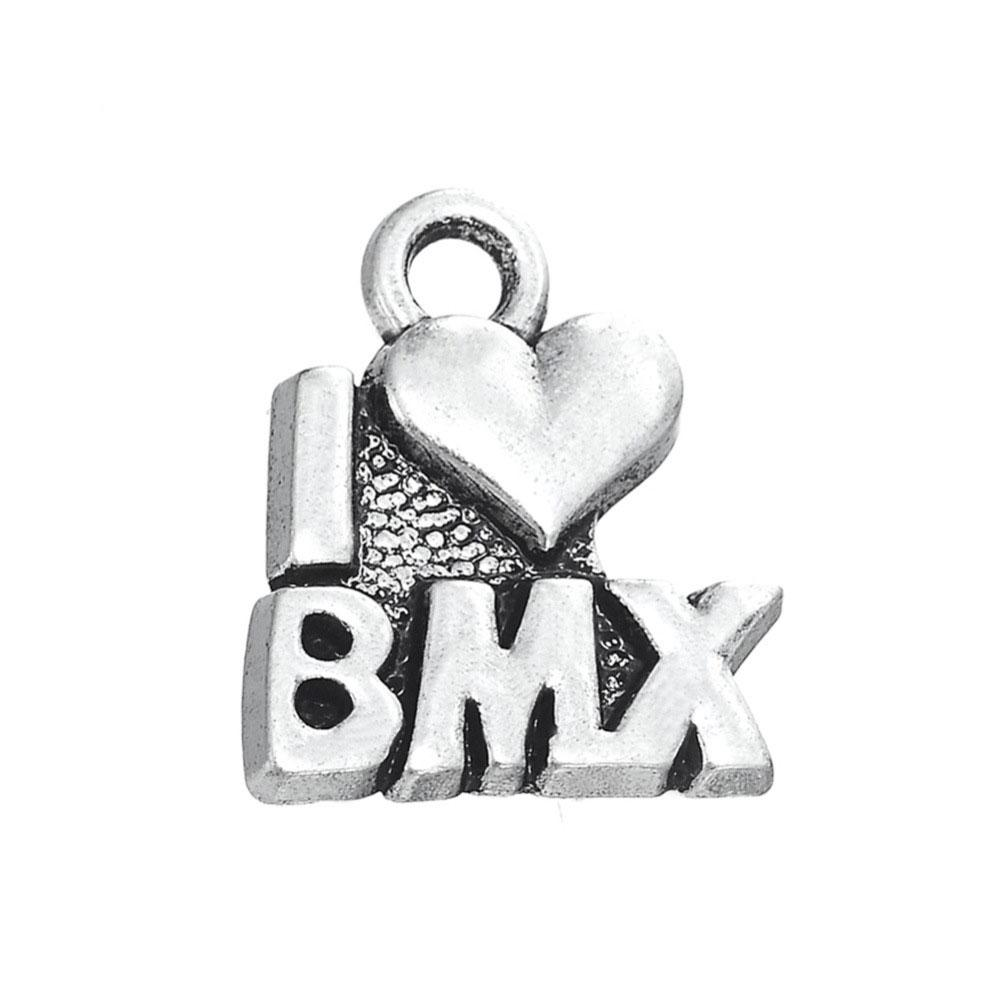 50PCS DIY Dangle Jewelry Tibetan Silver Plated I LOVE BMX Charms Jewelry Making Wholesale For Girl Jewelry Accessories