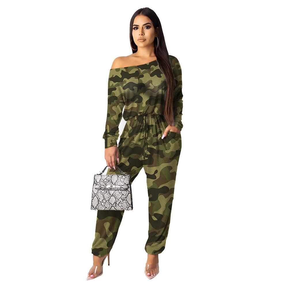 Bir kelime yaka tulum Boş Seksi Yabani pantolon yeni giysiler tam spektrum baskı Tulumlar Ms Avrupa ve Amerika moda Kamuflaj