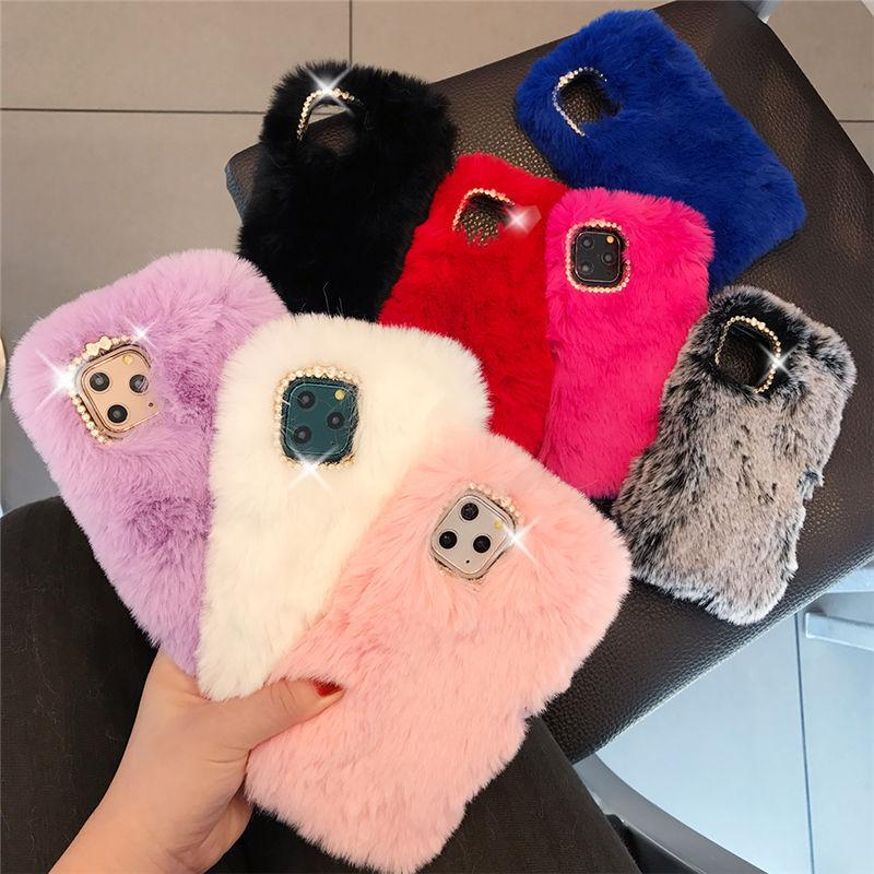 Cute Rabbit Fur Phone Case For iPhone 11 Pro Max XR XS Max X 6 6S Plus Bling Diamond Back Cover