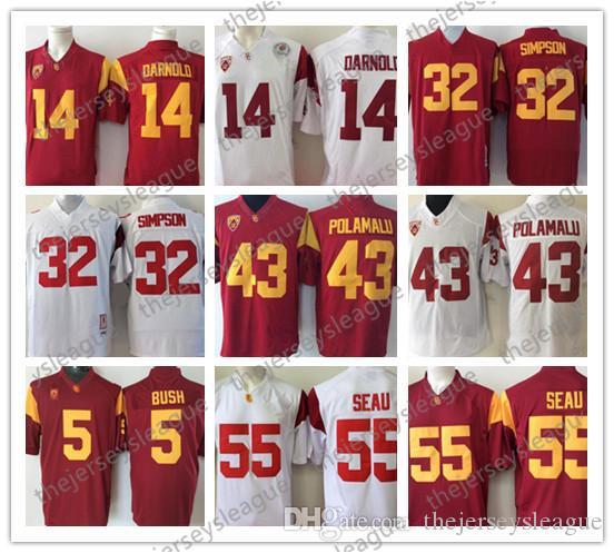 USC Trojans Discount # 14 Sam Darnold Maillot de football de la NCAA Troy Polamalu 43 ans OJ Simpson 55 Junior Seau 5 Bush rouge cousu