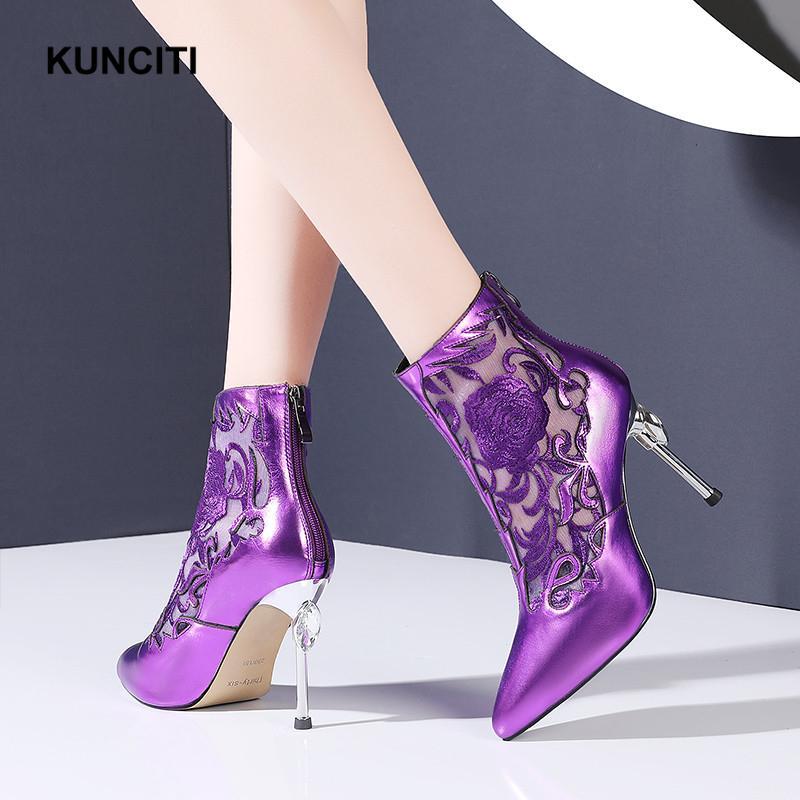 2020 KUNCITI Haut Talon Violet Bottes femmes cheville bout pointu bottillons Broderie Fleur Air Mesh Sexy Ladies Chaussures New D019