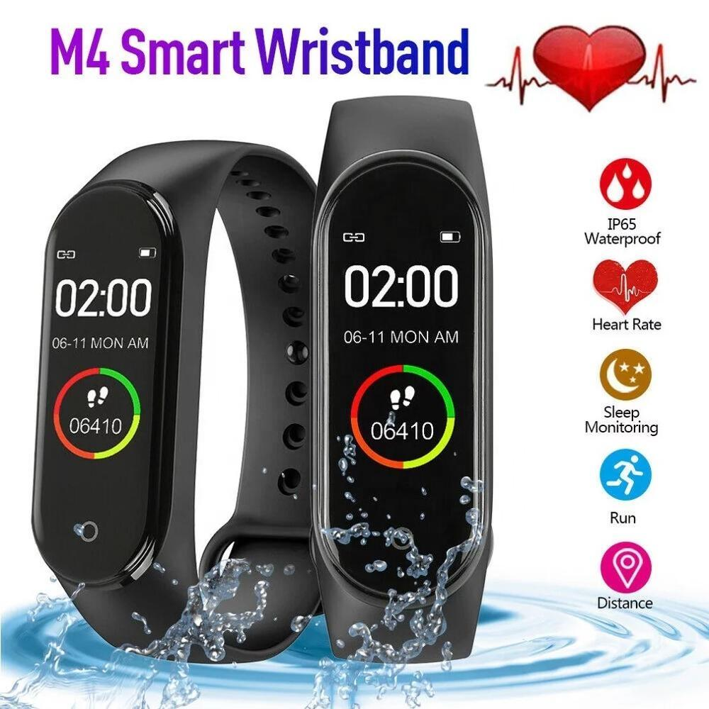 IP67 Swimming Waterproof M4 Health Sport Fitness Tracker Smart Bracelet Heart Rate Blood Pressure Monitoring Bluetooth Smart Wristband Watch