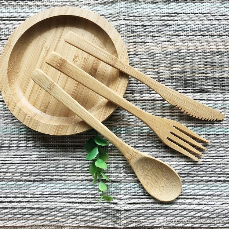 Airchr nouvelle arrivée bambou vaisselle 100% bambou naturel cuillère fourchette couteau ensemble de vaisselle en bois livraison gratuite