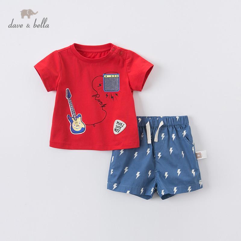DBA12439 Дэйв Белла лето детские мальчики мода мультфильм печати одежда наборы дети красивый короткий рукав наборы дети 2 шт костюм