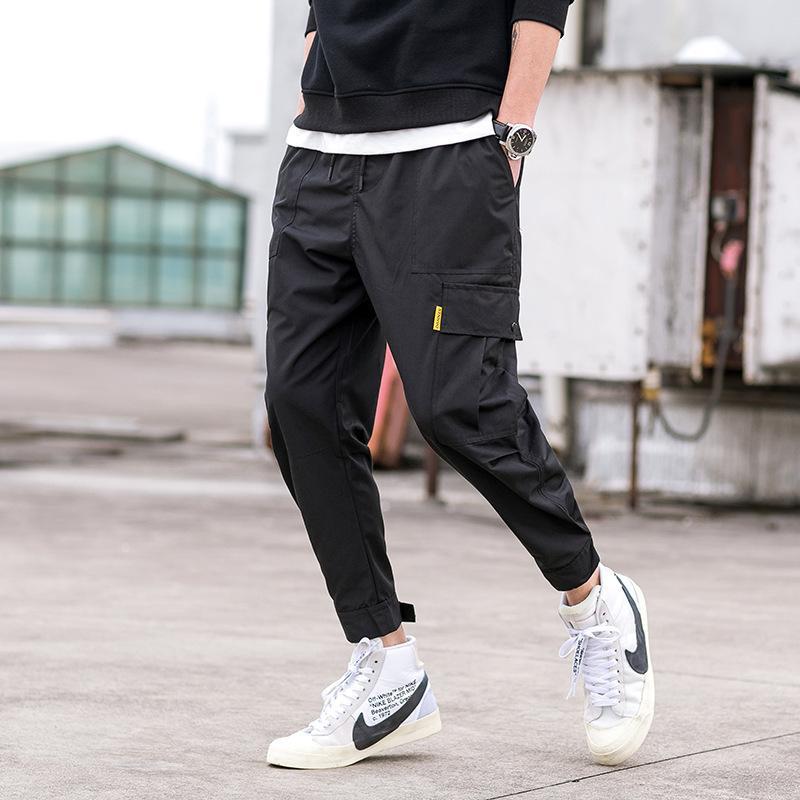 Avril 2019 MOMO Nouveau Arrivée Pantalons Hommes Mode High Street Pantalons simple Hommes Jogger Hip HOP Pants Men Plus Size XS-L LY191206