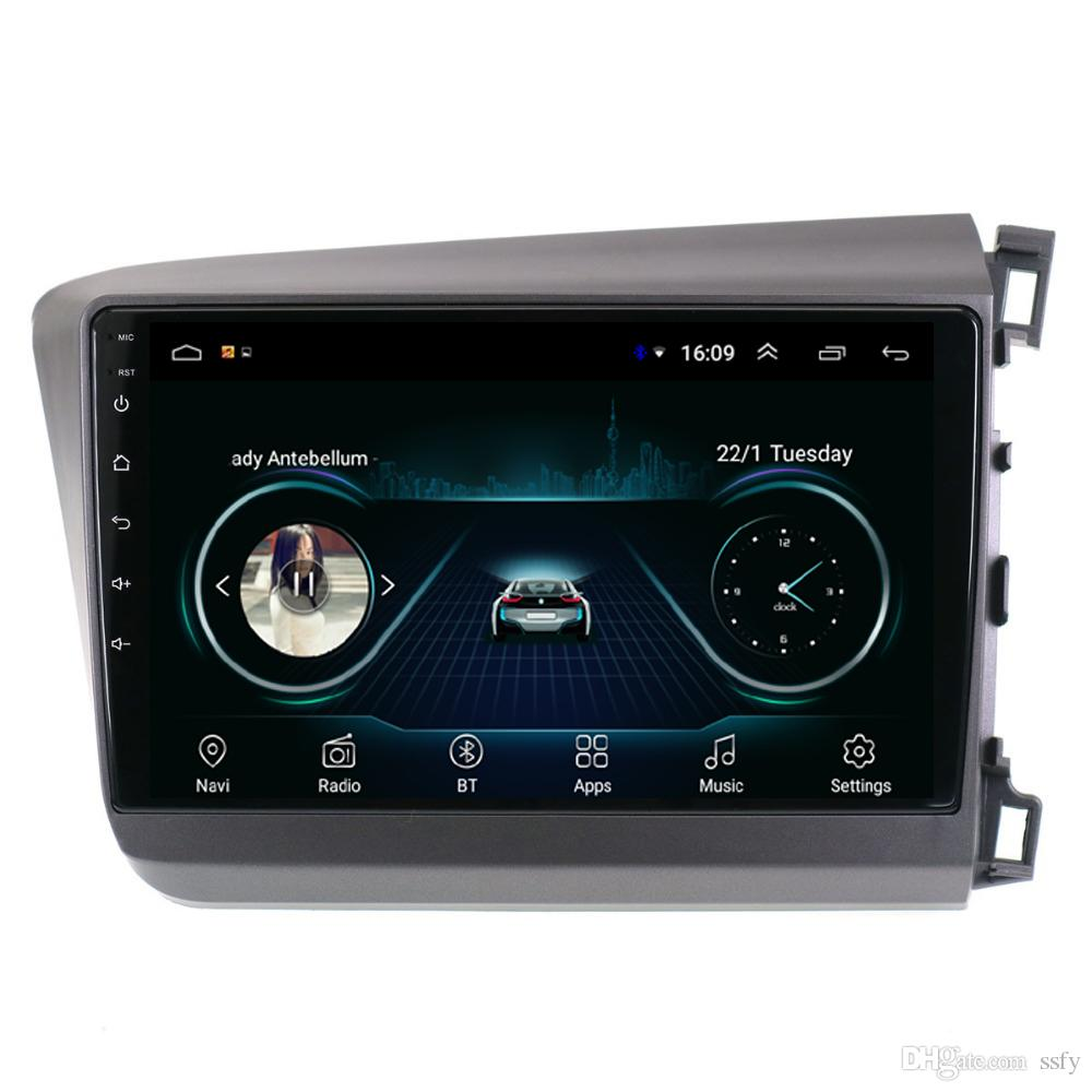 Android car multimedia player HD 1080 lossless music front camera free map fast delivery for Honda civic 2012-2015 right driving 10.1 inch